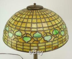 Tiffany Studios Acorn 1435 Stained Glass Bronze Table Lamp With 533 stick base