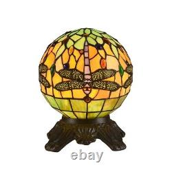 Tiffany Style 1 Bulb Globe Dragonfly Stained Glass Desk Table Lamp