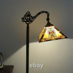 Tiffany Style 1 Bulb Mission Stained Glass Floor Reading Lamp 11 Wide Shade