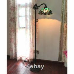 Tiffany Style 1 Bulb Victorian Stained Glass Floor Lamp 13 Shade Bronze Base