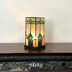 Tiffany Style 11 Tall Pedestal Accent Stained Glass Table Lamp Bronze Base