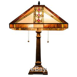 Tiffany-Style 16 Stained Glass Lampshade Desk Lamp Mission 2-Light Table Lamp