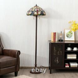 Tiffany-Style 18 Floor Lamp Stained Glass Victorian Home Stand Light 2 Light