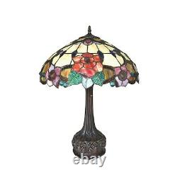 Tiffany Style 2 Light Floral Table Lamp Yellow Red Green Stained Glass 25 High