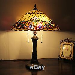 Tiffany Style 2 Light Table Lamp Gold with Jewels Stain Glass Antique Brass Finish