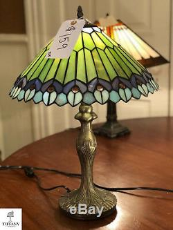 Tiffany Style 20 Green and Blue Abstract Table Lamp. Stained Glass Lighting