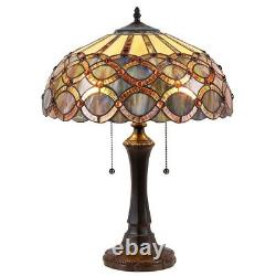 Tiffany Style 22 Tall 2 Bulb Stained Glass Table Lamp Antique Bronze Finish