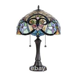 Tiffany Style 22 Tall Victorian Fan Design 2 Bulb Stained Glass Table Lamp