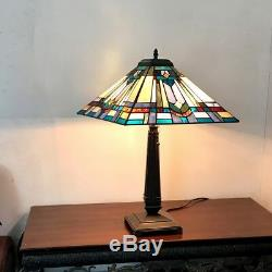 Tiffany Style 24 Tall Mission Design Stained Glass Table Lamp 16 Shade