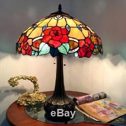 Tiffany Style 25 Roses Floral 2 Bulb Stained Glass Table Desk Lamp 16 Shade