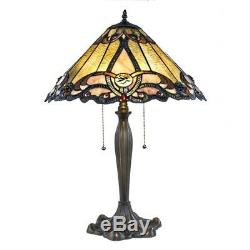 Tiffany Style 25 Tall Rosette Stained Glass Table Lamp 18 Shade Fluted Base