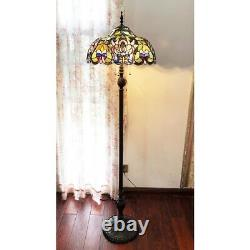 Tiffany Style 3 Bulb Victorian Reading Stained Glass Floor Lamp 18 Shade
