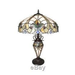 Tiffany Style 3 Light Victorian Lighted Base Night Light Table Lamp 18 Shade