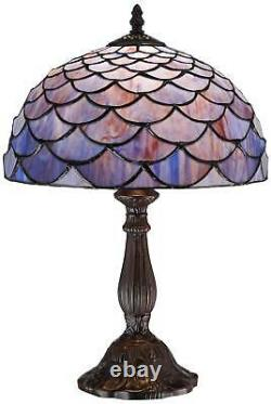 Tiffany Style Accent Table Lamp 18 Deep Brown Blue Shell Art Glass for Bedroom