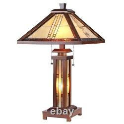 Tiffany Style Arts & Crafts Mission Lighted Wood Base Table Lamp 15 Shade