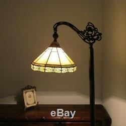 Tiffany Style Arts & Crafts Mission Stained Glass Floor Lamp Shade Green & Beige