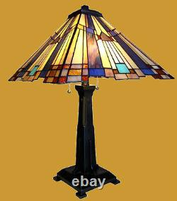 Tiffany Style Arts & Crafts Mission Stained Glass Table Desk Lamp 15 x 24