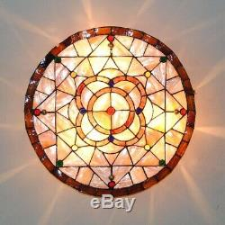 Tiffany Style Baroque Drum Stained Glass Flush Mount Ceiling Lamp Light Fixture
