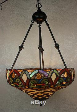 Tiffany Style Baroque Hanging Lamp Stained Glass 16 Shade Handcrafted