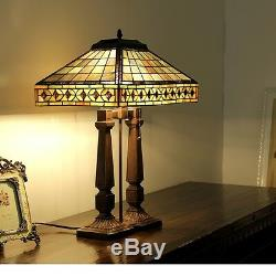 Tiffany Style Bedside Stained Glass 2 Light Mission Table Lamp 17 Shade