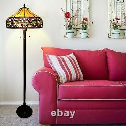 Tiffany Style Beige and Brown Sunrise Floor Lamp 16 Shade