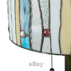 Tiffany Style Blue Contemporary Floor Lamp Handcrafted 16 Shade