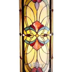Tiffany Style Bronze Finish Hand Cut Stained Glass 30in Pedestal Lamp Floor Swch