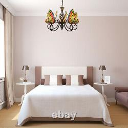 Tiffany Style Butterfly Stained Glass Shade Chandelier Wrought Iron Pendant Lamp