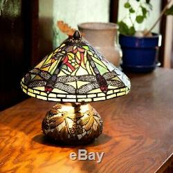 Tiffany Style Dragonfly Accent Green Stained Glass Table Lamp with Mosaic Base