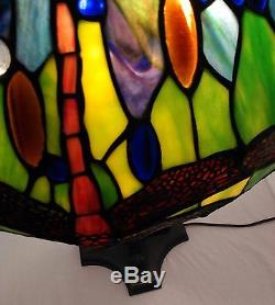 Tiffany Style Dragonfly Stained Glass Table Accent Lamp 3-light 19 inch Shade