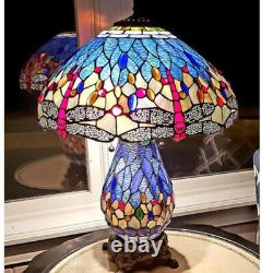 Tiffany Style Dragonfly Victorian Reading Table Lamp Vibrant Blue with Lit Base