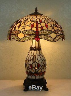 Tiffany Style Dragonfly White Table Lamp WithIlluminated Base 18 Shade