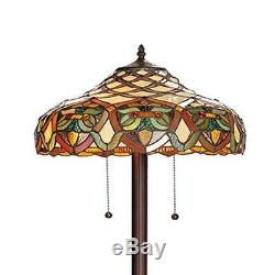 Tiffany Style Floor Lamp Accent Stained Glass Vintage Victorian