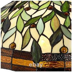 Tiffany Style Floor Lamp Bronze Stained Glass Leaf Pattern For Living Room Light