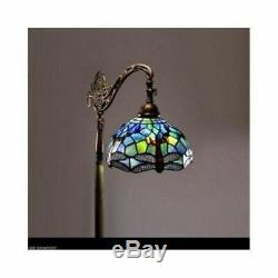 Tiffany Style Floor Lamp Dragonfly Victorian Vibrant Blue Green Stained Glass