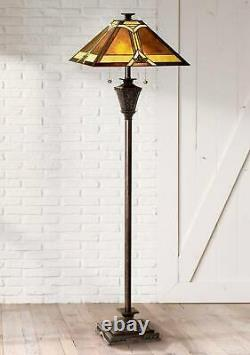 Tiffany Style Floor Lamp French Bronze Stained Glass Mica Living Room Reading
