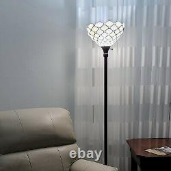 Tiffany Style Floor Lamp Jeweled Torchiere 72 Tall Stained Glass White Stains