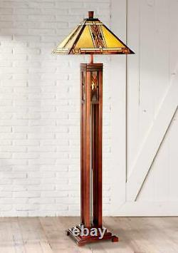 Tiffany Style Floor Lamp Mission Wood Column Stained Glass For Living Room