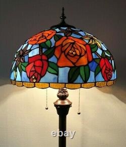 Tiffany Style Floor Lamp Rose Flower Stained Glass Antique Vintage W16H64 Inch