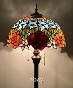 Tiffany Style Floor Lamp Rose Flower Stained Glass Antique Vintage W16H64Inch