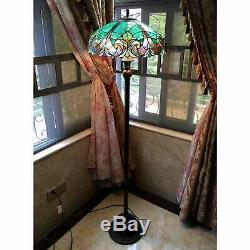 Tiffany Style Floor Lamp Stained Glass Vintage Victorian Nightstand Office Desk