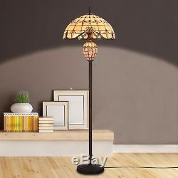 Tiffany Style Floor Lamp Victorian Double Lit Home Decor Stained Glass Lighting