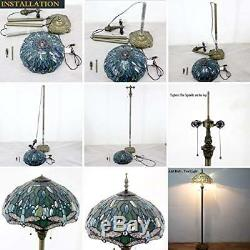 Tiffany Style Floor Standing Lamp 64 Tall Purple Blue Lavender Stained Glass