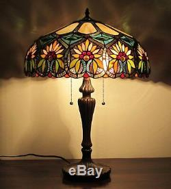 Tiffany Style Floral Design 2-light Table Lamp Beige Amber Green Stained Glass
