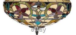 Tiffany Style Floral Hanging Lamp Stained Glass 16 Shade Handcrafted