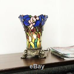 Tiffany Style Floral Stained Glass Accent Table Lamp 1 Bulb Antique Brass