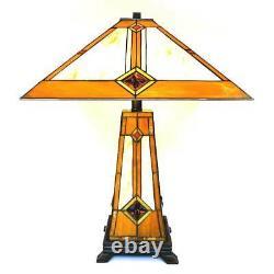 Tiffany Style Golden Mission Table Lamp WithIlluminated Base 17 Shade