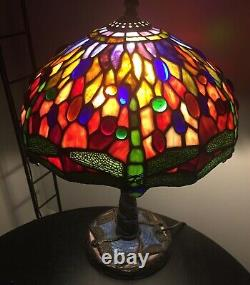 Tiffany-Style Green Dragonfly Stained Glass Table Lamps Pair of Two