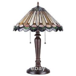 Tiffany Style Green Hues Stained Glass 2 Light Mission Table Lamp 16 Shade