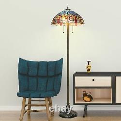 Tiffany Style Handcrafted Blue Dragonfly Floor Lamp 18 Shade